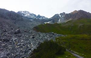 monumental landslide ravaged mountain huge boulder fall